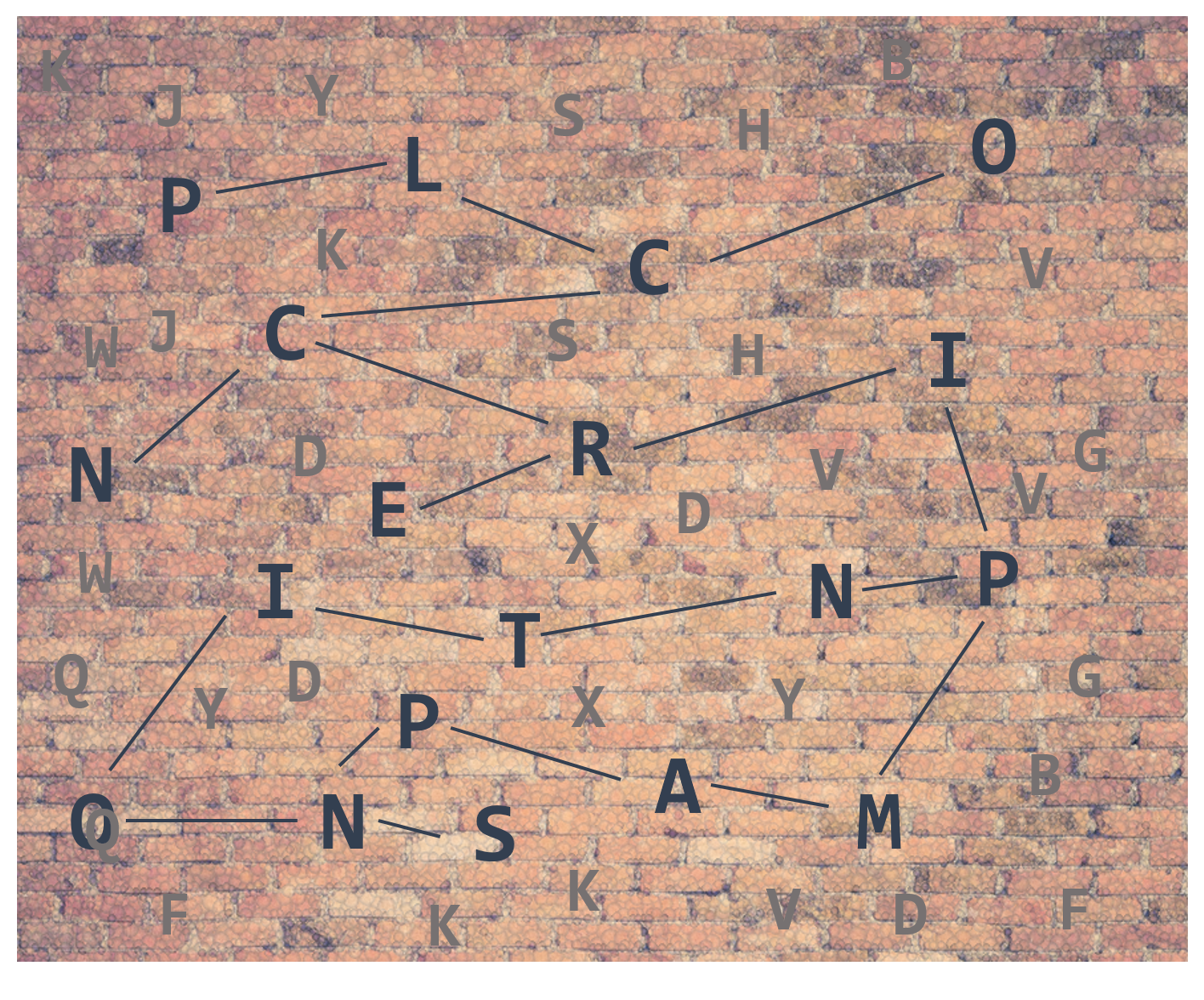 Shows a lot of letters on a brick wall where the letters which are existing in the words Principal Component Analysis are bold and connected with lines. This should illustrate the Pricnipal Component Analysis in such a way that only the important letters are kind of extracted from a bunch of different letters. By omitting all non bold printed letters, we still can form the word Principal Component Analysis, that is by omitting the other letters, we reduce the size of the 'letter salad' without loosing too much information.