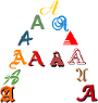 The letter A in various Fonts / Graphemes