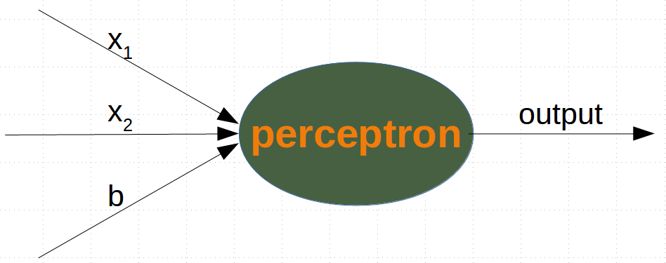 A perceptron with two input values and a bias value
