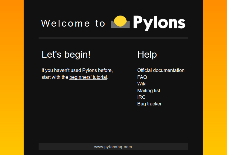 Pylons Welcome Screen
