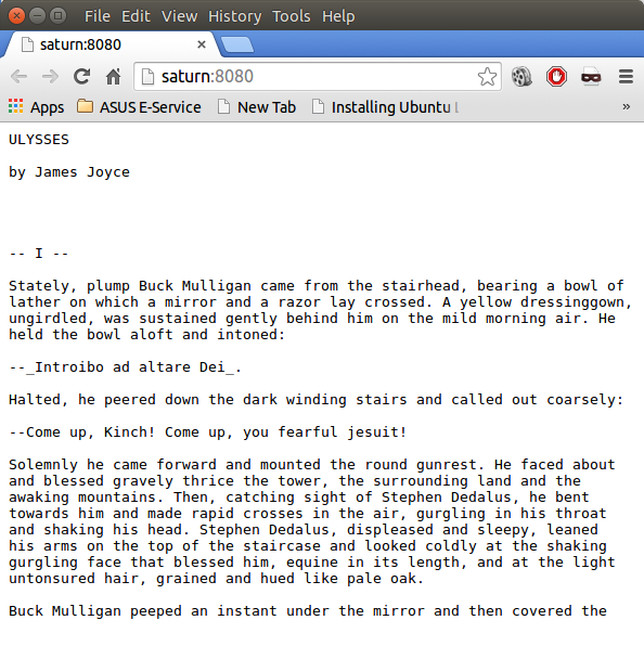 Beginning of the novel ulysses by web browser wsgi